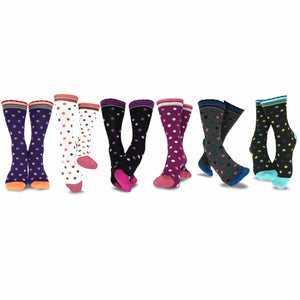 TeeHee Socks Women's Casual Polyester Crew Polka Dots Scallop 6-Pack (11637)