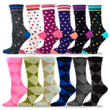 TeeHee Socks Women's Casual Polyester Crew Dots and Argyle 12-Pack (1163789)