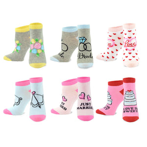 TeeHee Wedding Cotton No Show Socks for Women and Men 6-Pack (9-11, Weddings W ) - TeeHee Socks