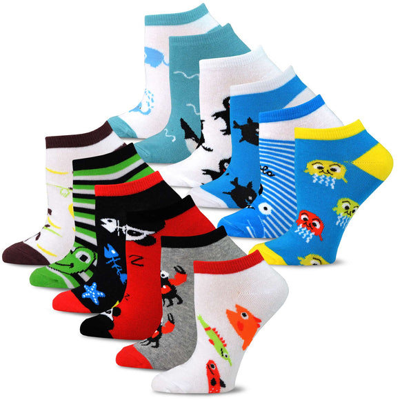TeeHee Socks Women's Casual Polyester No Show Fish and Animal 12-Pack (12169)