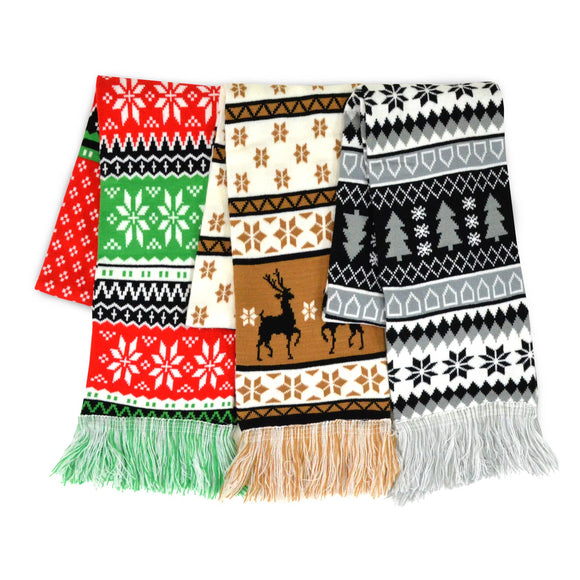 Winter Unisex Double Layer Scarves 3-Pack (Winter-Mix)