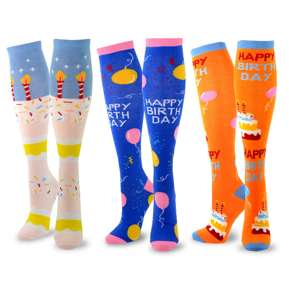 Women's Fun Novelty Knee High Socks 3-Pack (Birthday Candle) - TeeHee Socks