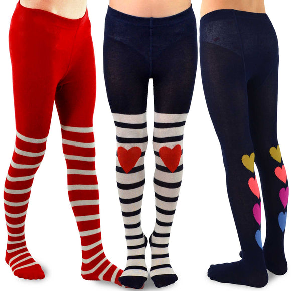 TeeHee Kids Girls Fashion Cotton Tights 3 Pair Pack (Stripe Heart)