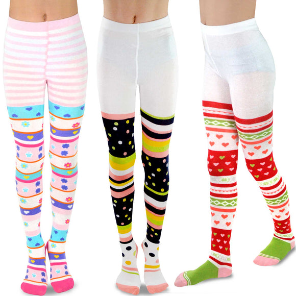 TeeHee Kids Girls Fashion Cotton Tights 3 Pair Pack (Colorful)