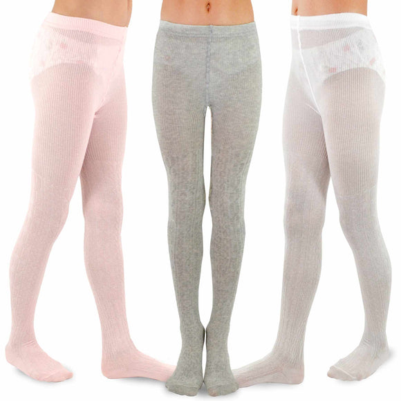 TeeHee Kids Girls Fashion Cotton Tights 3 Pair Pack (Simple) - TeeHee Socks