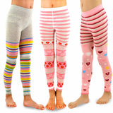 TeeHee Kids Girls Fashion Cotton Footless Tights 3 Pair Pack (Stripe Heart Dot)