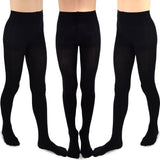TeeHee Kids Girls Fashion Microfiber Tights 3 Pair Pack (Black)-BALLET - TeeHee Socks