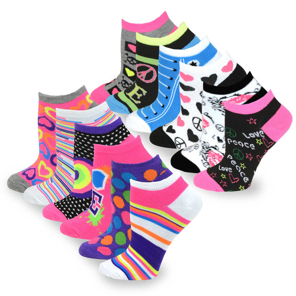 TeeHee Socks Women's Casual Polyester No Show Assorted 12-Pack (31003)