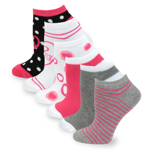 TeeHee Socks Women's Casual Polyester No Show Hearts/Dots/Stripes 6-Pack (3104)