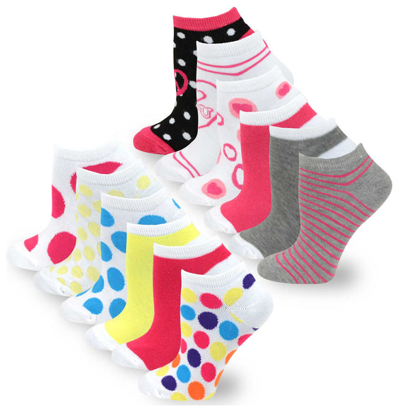 TeeHee Socks Women's Casual Polyester No Show Assorted 12-Pack (31045)