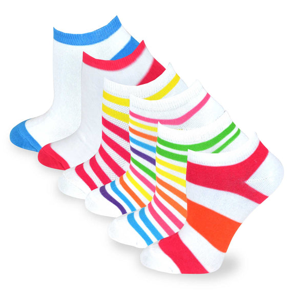 TeeHee Socks Women's Casual Polyester No Show Stripes/Plain 6-Pack (3109)