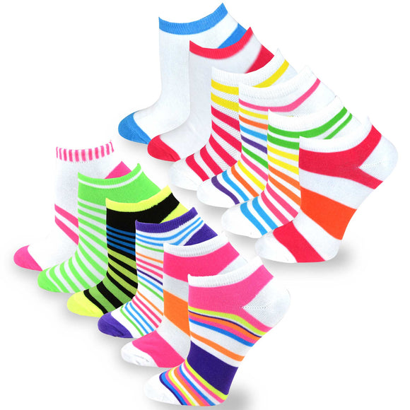 TeeHee Socks Women's Casual Polyester No Show Plain/Neon Stripes 12-Pack (31091)