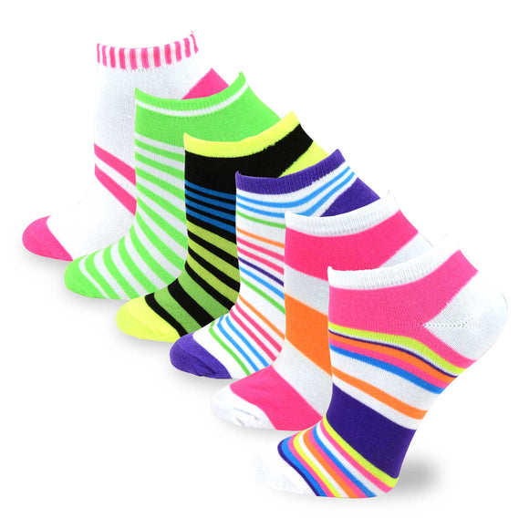 TeeHee Socks Women's Causal Polyester No Show Neon Stripes 6-Pack (3110)