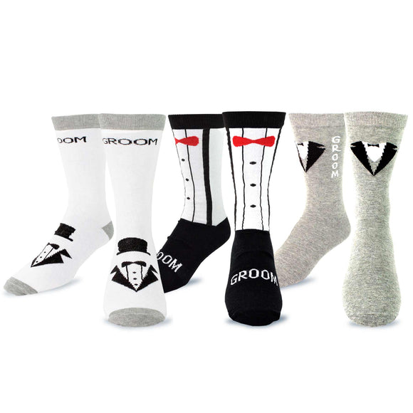 TeeHee Wedding Cotton Crew Socks for Women and Men 3-Pack (10-13, Weddings) - TeeHee Socks
