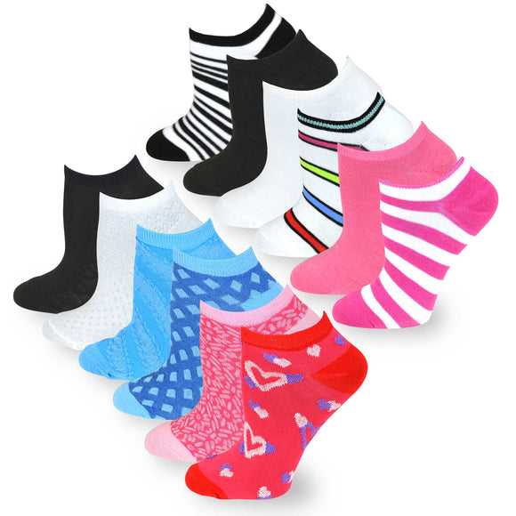 TeeHee Socks Women's Casual Polyester no Show Assorted 12-Pack (60013)