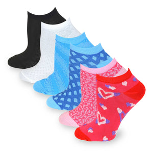 TeeHee Socks Women's Casual Polyester No Show Floral In and Out 6-Pack (6002)
