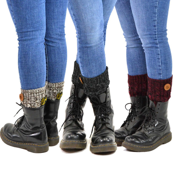 Women's Boot Toppers with Button 3-Pack Assorted Colors (Marled Cable Knit) - TeeHee Socks