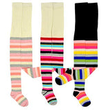 Kids Girls Fashion Cotton Tights 3 Pair Pack (Thick Stripe) - TeeHee Socks