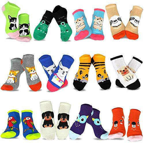 Women's Fashion No Show/Low cut Fun Socks 12 Pairs Packs (Pet-Animal)… - TeeHee Socks