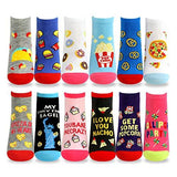 Women's Fashion No Show/Low cut Fun Socks 12 Pairs Packs (Food-Letter)… - TeeHee Socks