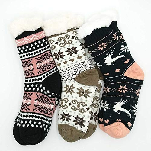 TeeHee Socks Women's Winter Polyester Crew Deer D 3-Pack (R1869)