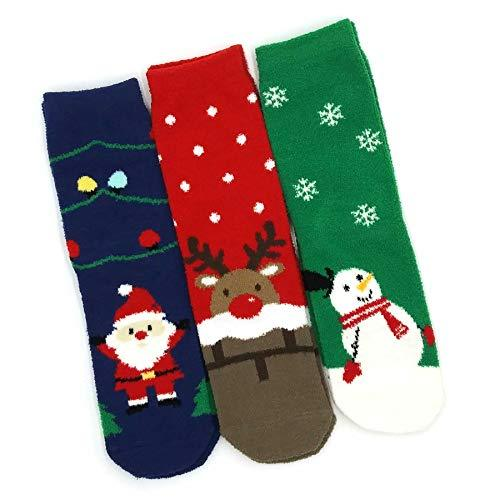 TeeHee Socks Women's Christmas Polyester Crew Assorted 3-Pack (X2010)