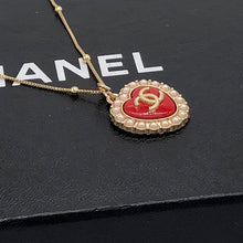 Load image into Gallery viewer, Obsessed! Chic Red Chanel Heart Charm CC Logo Repurposed Pendant Necklace