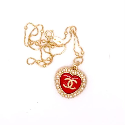 Obsessed! Chic Red Chanel Heart Charm CC Logo Repurposed Pendant Necklace