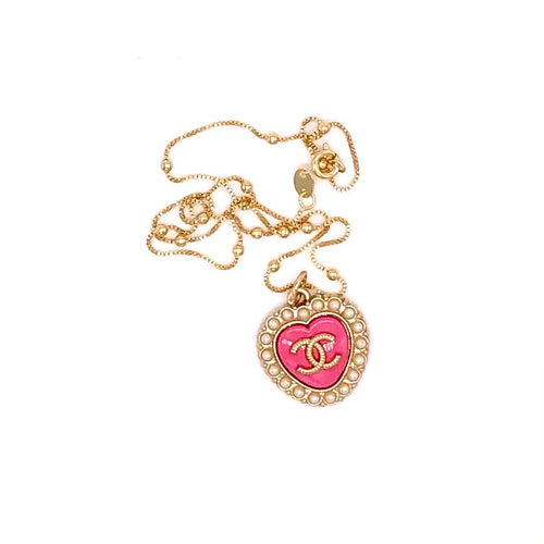 Obsessed! Chic Pink Chanel Heart Charm CC Logo Repurposed Pendant Necklace