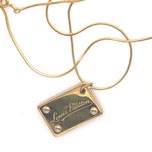 Load image into Gallery viewer, LV Logo Rare Plaque Charm Repurposed as Pendant on Necklace