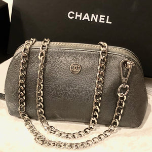 Chic Silver Leather Vintage Chanel Pouch/Crossbody/Bum Bag