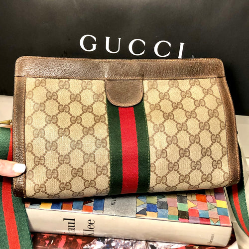 Vintage GG Web Gucci Clutch Crossbody Shoulder Bag