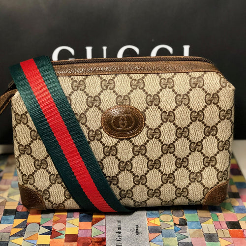 Vintage Gucci GG Supreme Box Handbag Convertible Crossbody, Bum Bag
