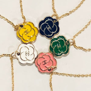 Classic Camellia Flower Micro Chanel Charm Necklace - Yellow