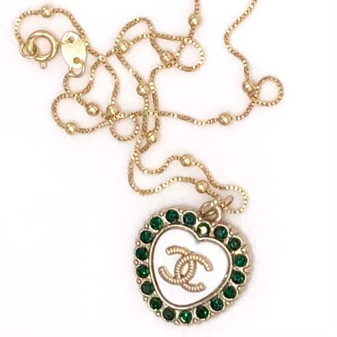 Obsessed! Chic White/Green Chanel Heart Charm CC Logo Repurposed Pendant Necklace