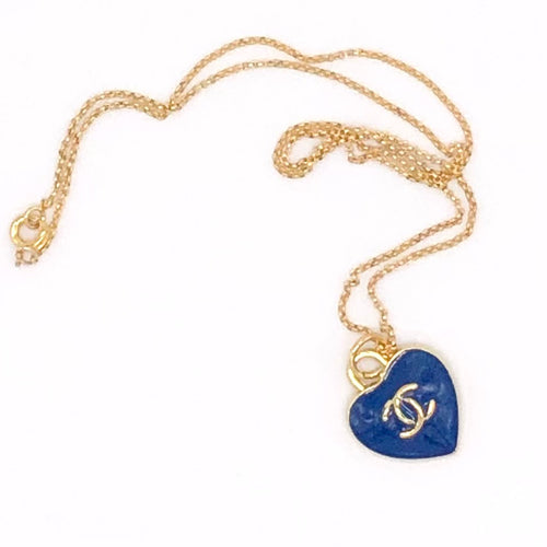 Blue Heart CC Chanel Charm Pendant Repurposed Necklace