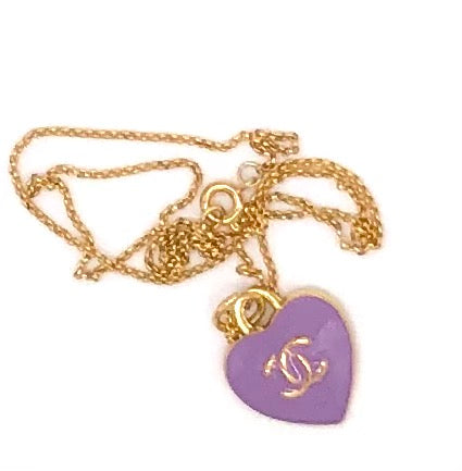 Lavender Heart CC Chanel Charm Pendant Repurposed Necklace