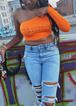 Upper Echelon One Shoulder Crop Top