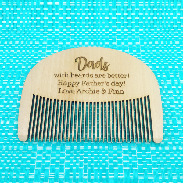 Dads With Beards Are Better, Happy Fathers Day Personalised Comb (Change Daddy to any other name), Cute Fathers Day Gift Idea!