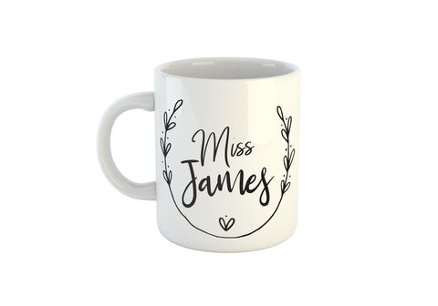 Personalised Teacher Name Mug, Add Your Message To The Back Side (Personalised Teacher Gift Ideas, Teacher Coffee Mug)