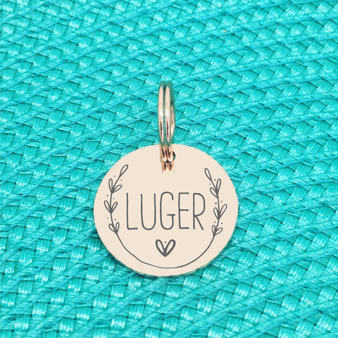 Rose Gold Personalised Dog Tag, Luger Design with Heart Image (Personalised Dog Tag / Personalised Cat Tag)