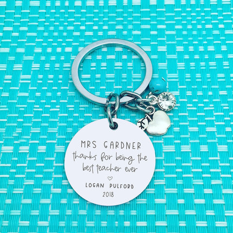 Best Teacher Ever Personalised Keyring (Personalised Teacher Gift, End of Year Gift, Gift for Teacher)