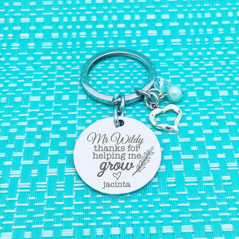 Thanks For Helping Me Grow Personalised Keyring (Personalised Teacher Gift, End of Year Gift, Gift for Teacher)