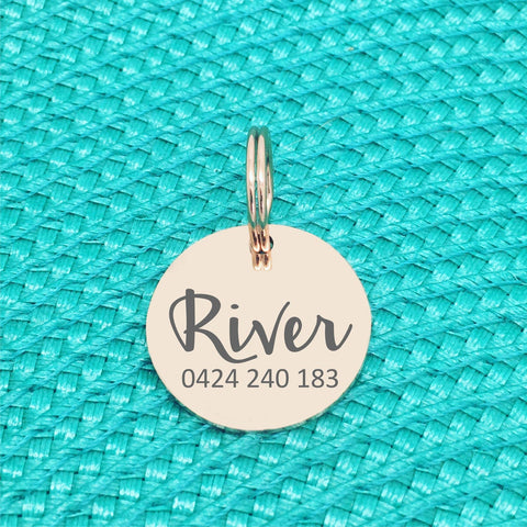 Rose Gold Personalised Dog Tag, River Design with number on front (Personalised Dog Tag / Personalised Cat Tag)