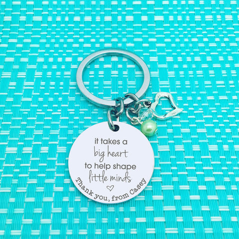 It Takes A Big Heart To Help Shape Little Minds Personalised Keyring (Teacher Gift, Personalised Teacher Gift)