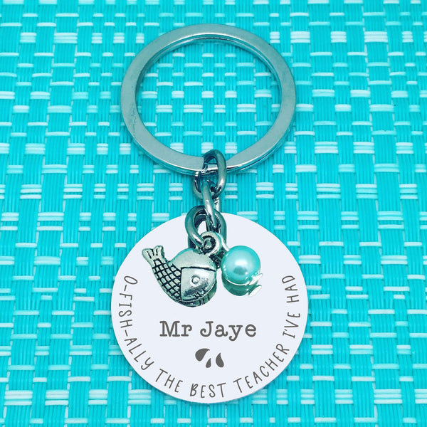 O-Fish-Ally The Best Teacher Ever Personalised Keyring (Teacher Gift, Personalised Teacher Gift)