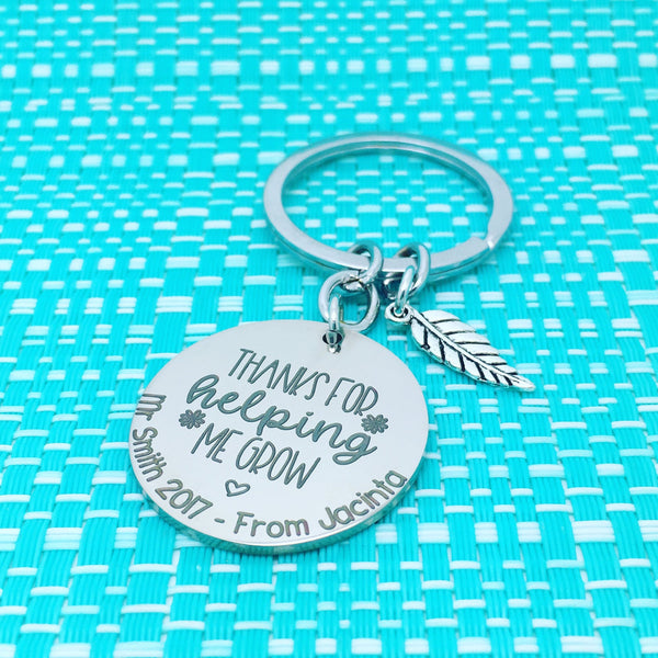 Thank For Helping Me Grow Personalised Keyring (Personalised Teacher Gift)