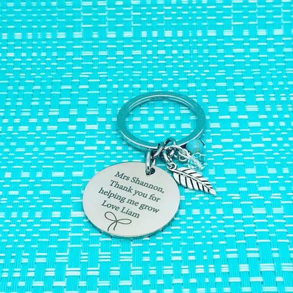 Thank You For Helping Me Grow Personalised Keyring, Bow Design (Personalised Teacher Gift, End of Year Gift, Gift for Teacher)