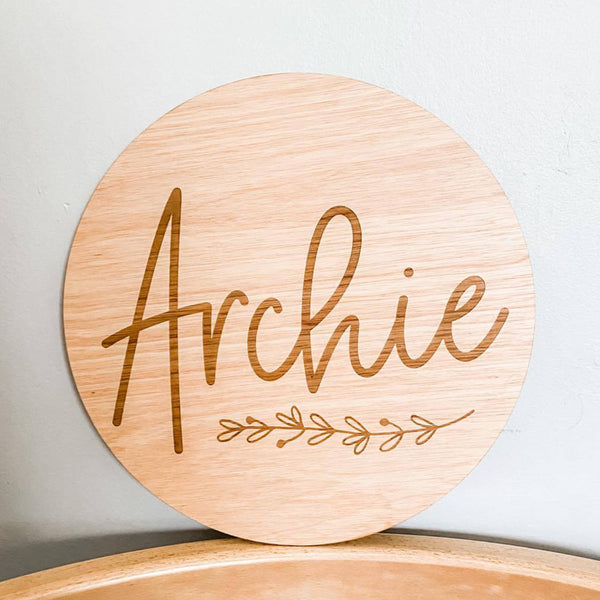 Personalised Wooden Name Plaque With A Cute Floral Wreath