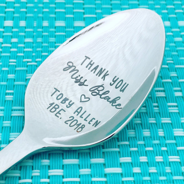 Thank You Personalised Teacher Spoon (Personalised Teacher Gift, Coffee Gift, Teach Coffee Repeat)